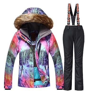 Women Snowboard Suit Waterproof Windproof Ski Jacket and Pant Black X-Small 47ee6753d