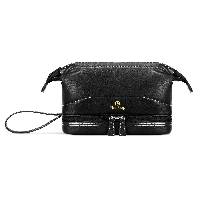 95aca0275d45 Plambag PU Leather Toiletry Bag Set, Cosmetic Travel Bag, Portable Makeup  Bag(Black)