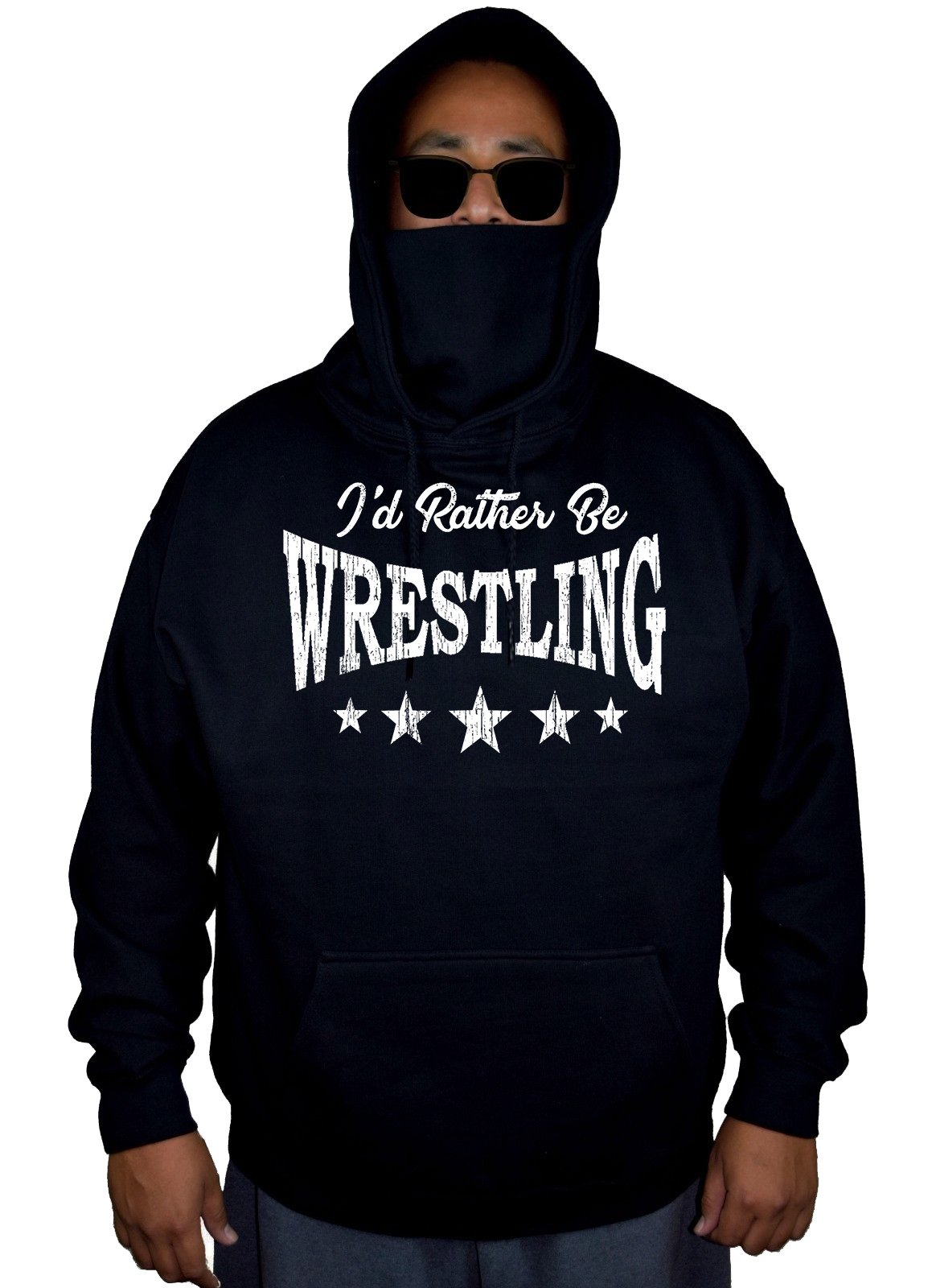 Men's I'd Rather Be Wrestling Black Mask Hoodie Sweater Large by Interstate Apparel