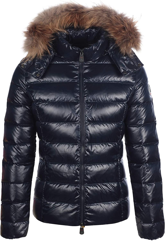 JOTT Chaqueta acolchada de invierno para mujer, con capucha, ribete de piel, cuello de piel forrado. marine XL