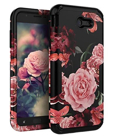 TIANLI Samsung Galaxy J7 2017 Case Cute Flowers for Girls/Women Smooth Surface Three Layer Shockproof Protective Cover for Galaxy J7 2017/J7 V/J7 Sky ...