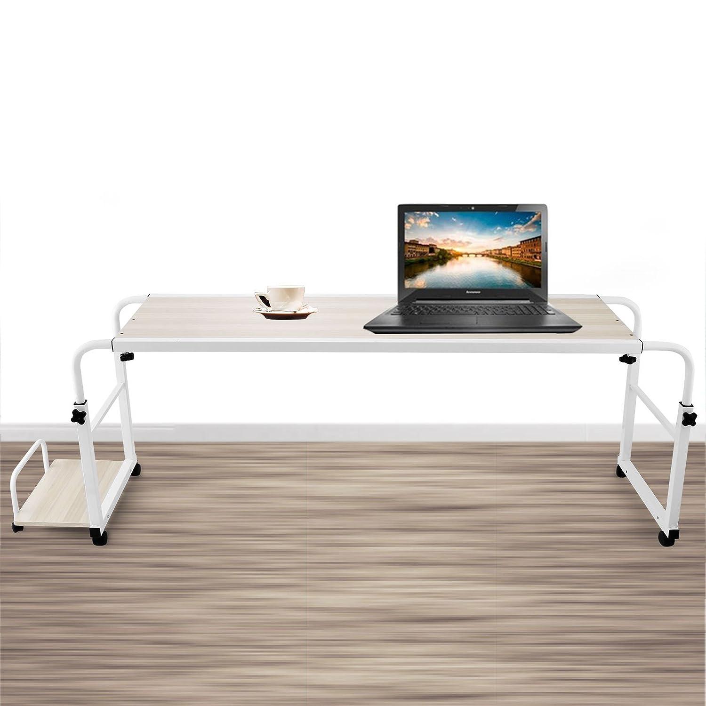 BuoQua 1.2m Tavolo Da Letto Per PC Tavolo In Bianco Lunghezza E Altezza Regolabile Con La Piattaforma