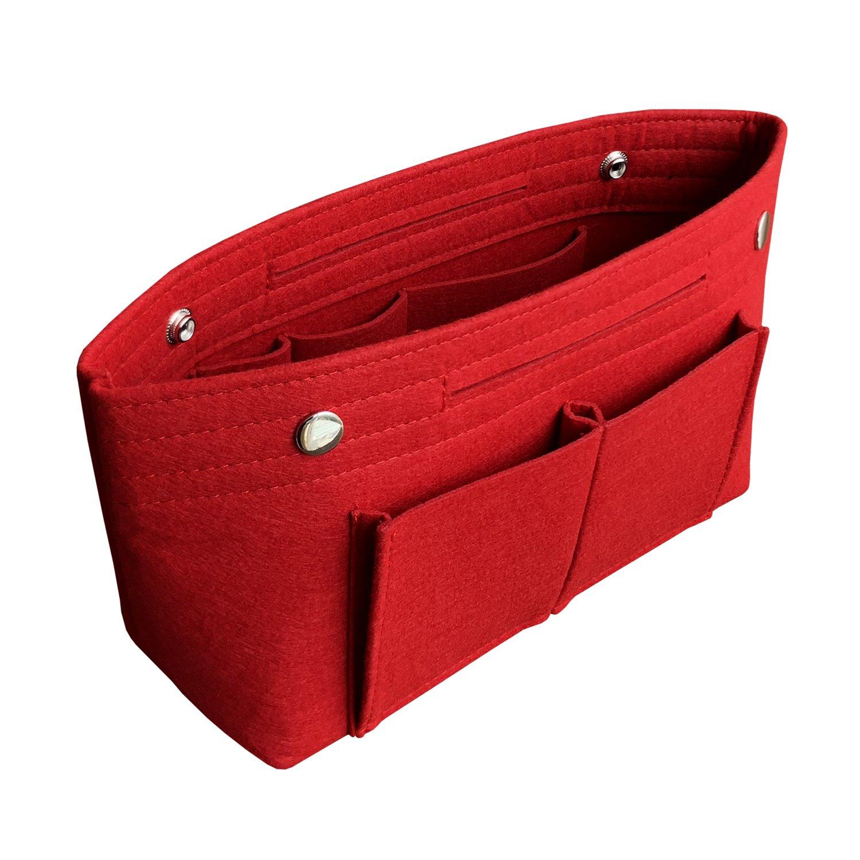 APSOONSELL Women's Handbag Tidy Organiser, Lightweight Felt Protective Liner for Speedy Neverfull, Red - Large