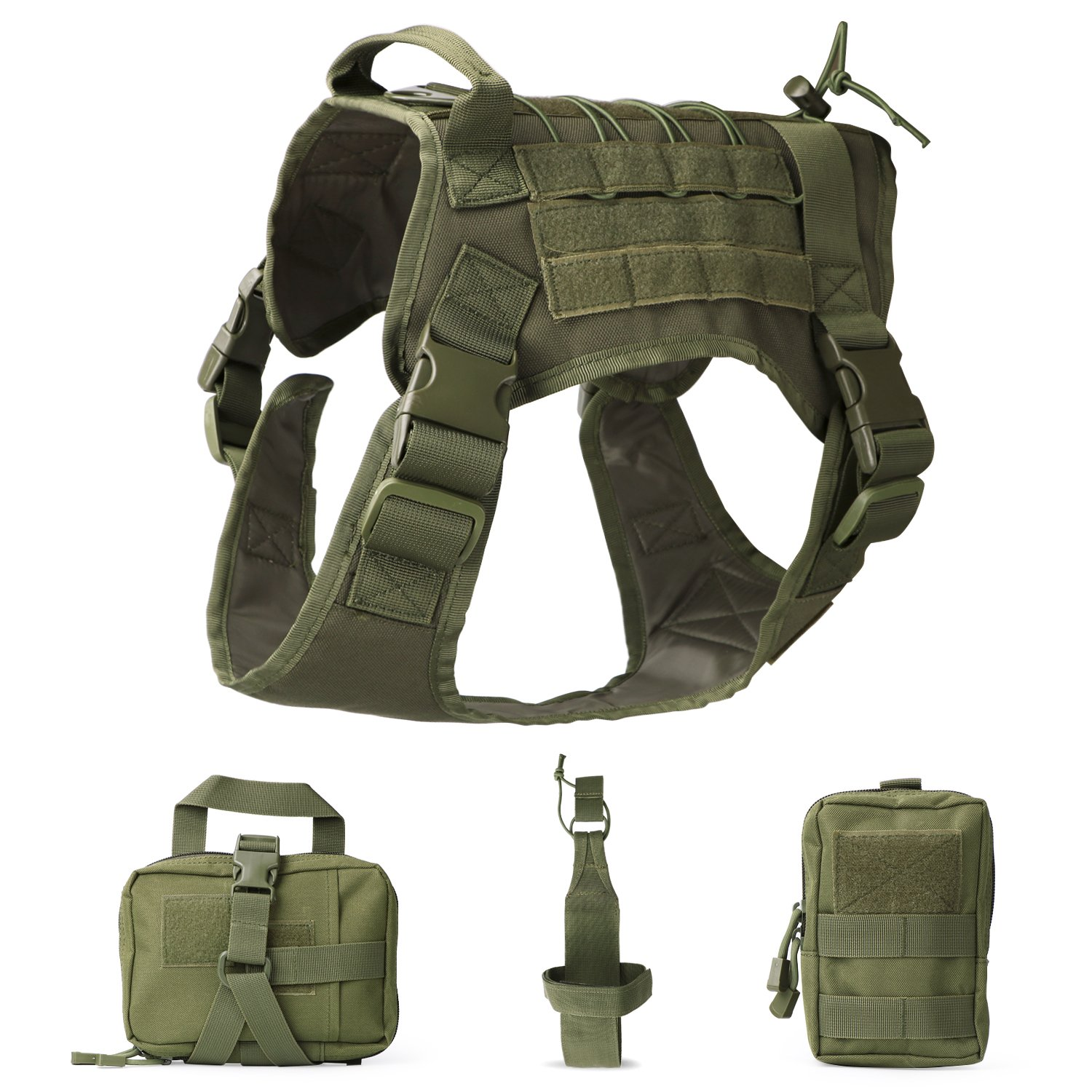 JASGOOD Tactical Dog Vest Military Harness With Detachable Molle Pouches/Patches Outdoor Training Handle Service Dog Vest JA-bag003K