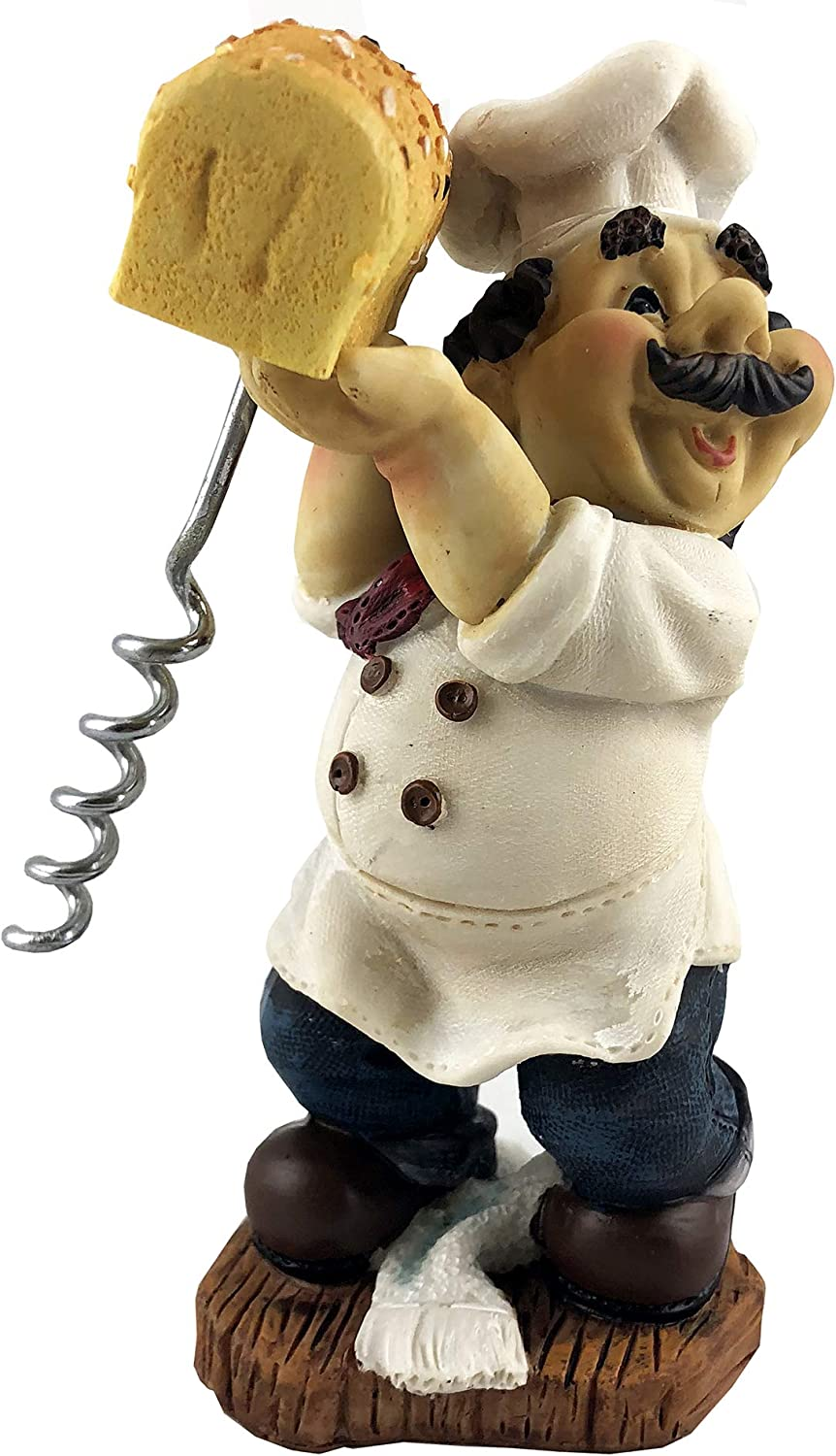 Funny Cork Opener Fat Chef with Bred Figurine 6 Inches Decorative Wine Opener D