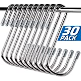 Aufun 30 Pack Stainless Steel S Hooks for Hanging, Heavy Duty S Shaped Hanging Hooks, Hanging Hangers for Kitchen, Work Shop, Bathroom, Closet, Bags, Towels, 2.4 inch