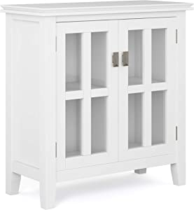 SIMPLIHOME Artisan SOLID WOOD 30 inch Wide Contemporary Low Storage Cabinet in White, with 2 Tempered Glass Doors, 2 Adjustable Shelves