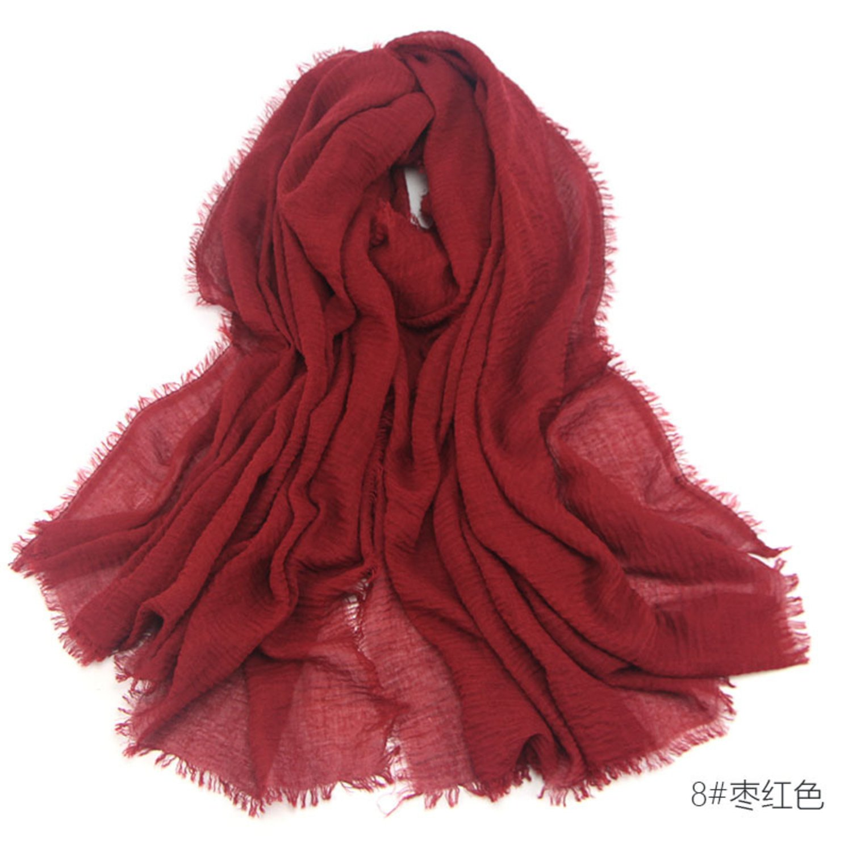 Women Crimp Frayed Edges Crinkle Maxi Scarf Cotton Mix Hijab Sarong Wrap Scarf