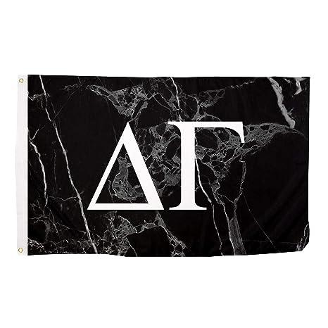 delta gamma dark marble background white letters sorority flag banner 3 x 5 sign decor dg