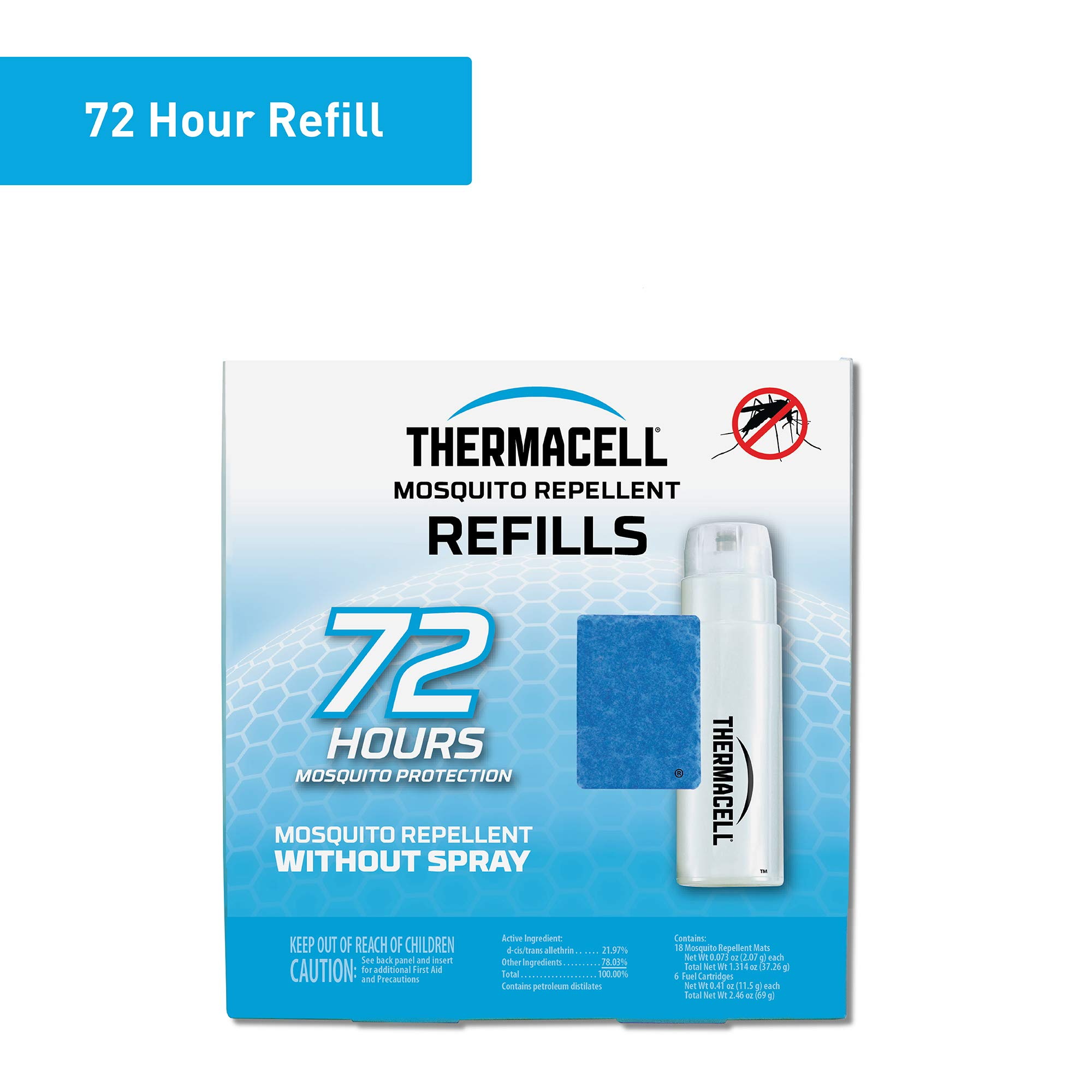 Thermacell Mosquito Repellent Refills, 72-Hour Pack; Contains 18 Repellent Mats, 6 Fuel Cartridges; Compatible with Any Fuel-Powered Thermacell Product; No Spray, Scent, Mess; 15 Ft Zone of Protection by Thermacell