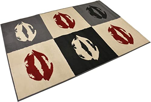 Glitter Red Lips Black Off-white Cream Grey Area Rug 3 3 x 4 7 Paris Kiss Design Modern Area Rugs Paris Collection
