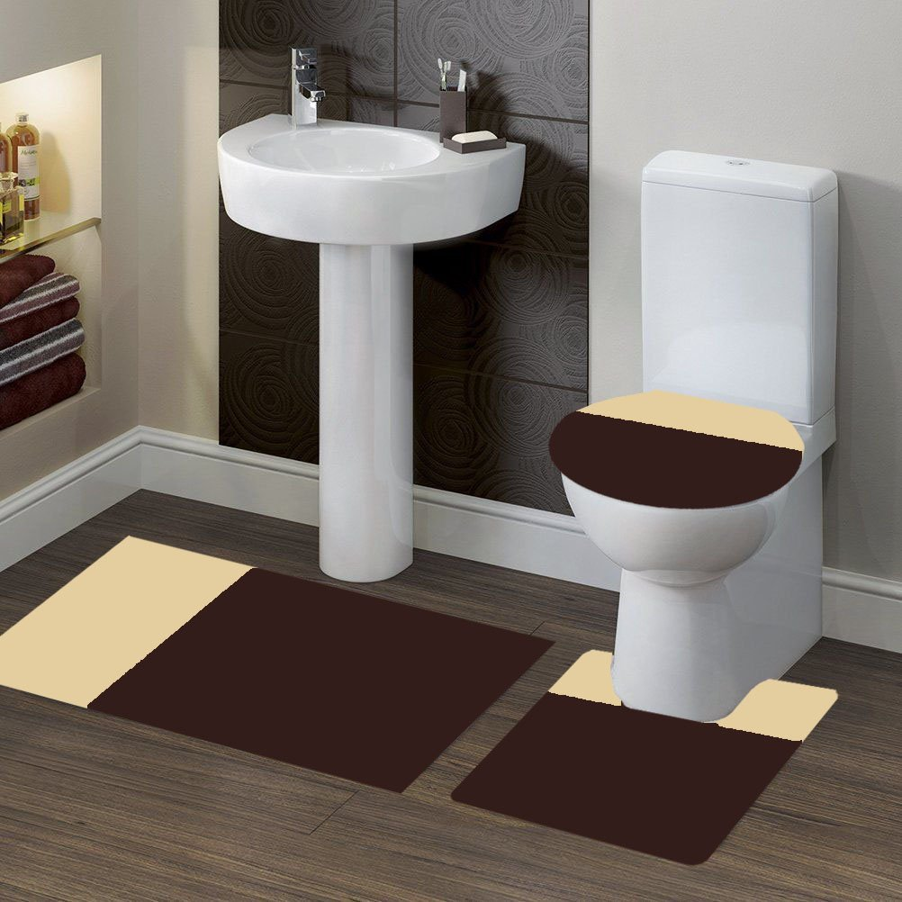 GorgeousHomeLinen (#7) 2 Tone BROWN/BEIGE 3pc Bathroom Set Bath Mat Contour and Toilet Lid Cover with Rubber Backing Rugs