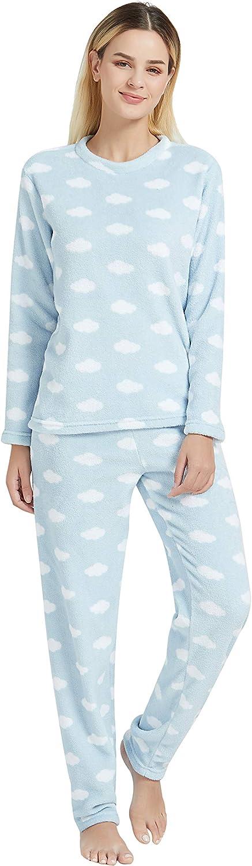 Pyjamas Chauds Et Doux Au Toucher Ensembles De Pyjama pour Femme en Corail /À Manches Longues PimpamTex