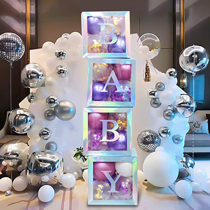 Termichy Baby Shower Boxes Party Decorations, 4 PCS Baby Shower Blocks Transparent with Letter for Girls Boys Birthday Neutral Gender Reveal Party, Silver