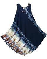 Pikulla Half Moon Sleeveless Women's Bali Print Gypsy Sundress Multicoloured X-Large