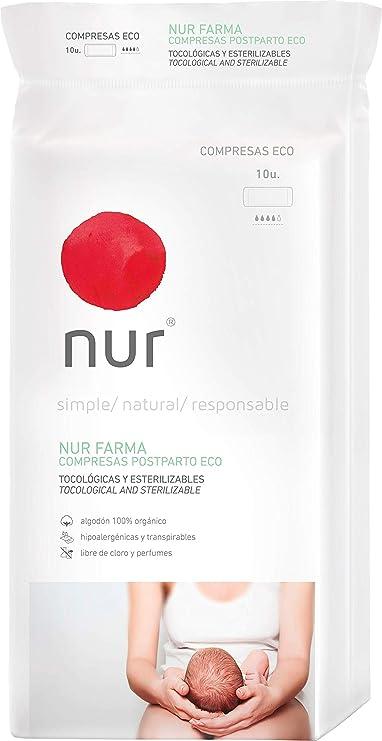 Compresas ecológicas Nur Farma Postparto. 10 uds.: Amazon.es: Bebé