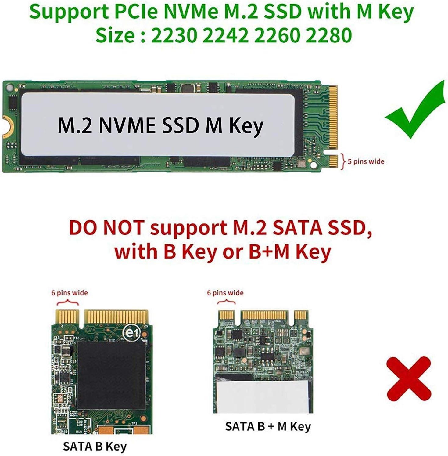 QNINE Bo/îtier NVME pour puce pont PCIe Gen 3 x2 10 Gbps fourni avec 2 c/âbles USB bas/é sur JMS583 USB 3.1 Gen 2 bo/îtiers M.2 Adaptateur SSD vers USB 3.1 nvme pcie avec bo/îtier