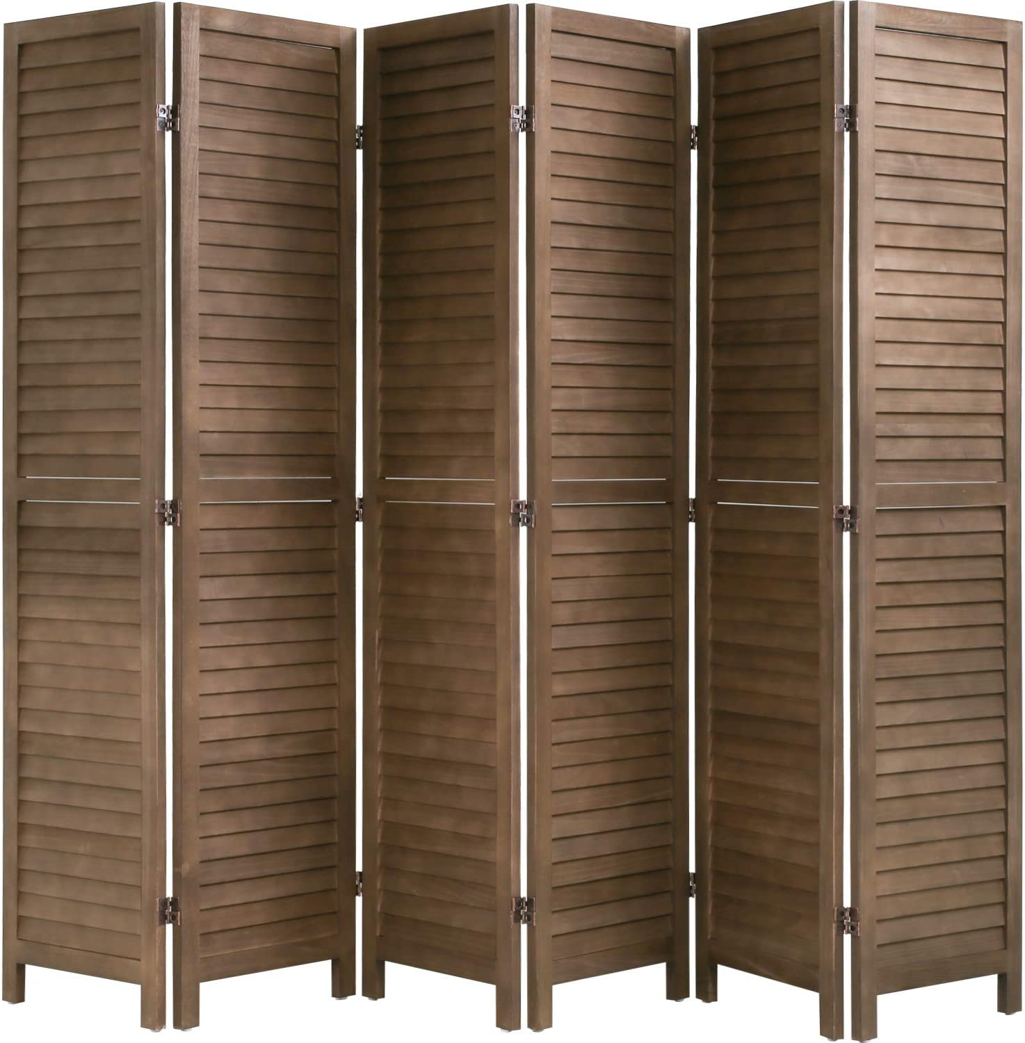 6 Panel Wood Room Divider 5.75 Ft Tall Privacy Wall Divider Folding Wood Screen 68.9