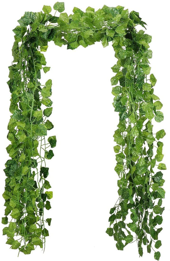 RAUVOLFIA 24 Pack (Each 118 Inches) (Total 236 Feet) Fake Vines Plants Artificial Grape Leaves Greenery Garlands Hanging for Wedding Party Garden Wall Decoration, Perfect as Fence Privacy Screen
