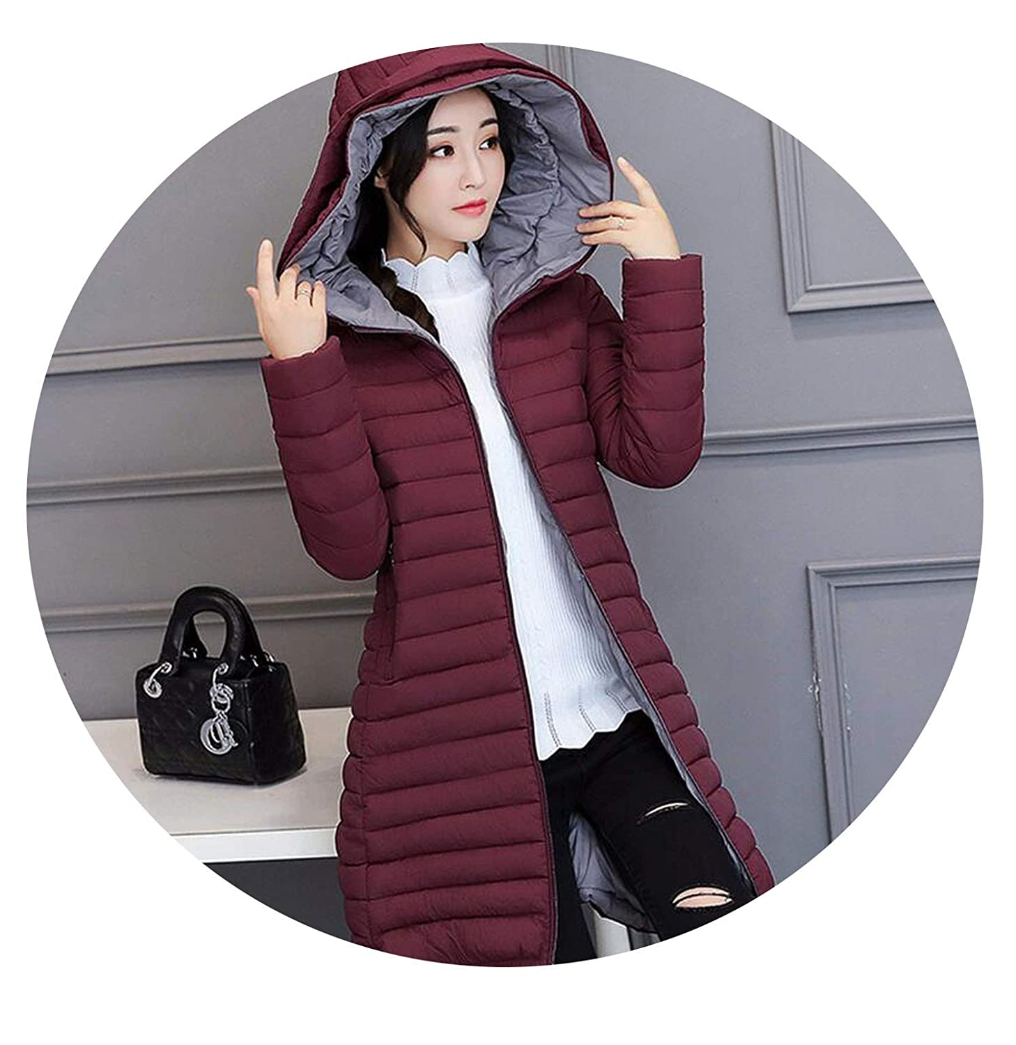 Wine red FantasticJourney Winter Jacket Slim Parkas Slim Thin Autumn Wadded Coat Casual Solid Clothing Hooded