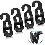 FYY Car Seat Headrest Hooks - 4 Pack Durable Car Back Seat Hanger Foldable Organizer Storage Hooks for Handbag Purse Grocery