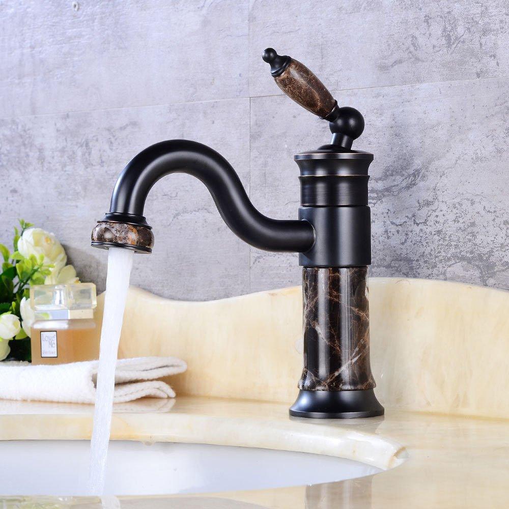 AQiMM Waschtischarmatur Wasserhahn Drehbar, Warmes Und Kaltes Wasser Mit Einem Hebel Der Einhebelsteuerung  Mischbatterie Waschbeckenarmatur Für Badezimmer Waschbecken