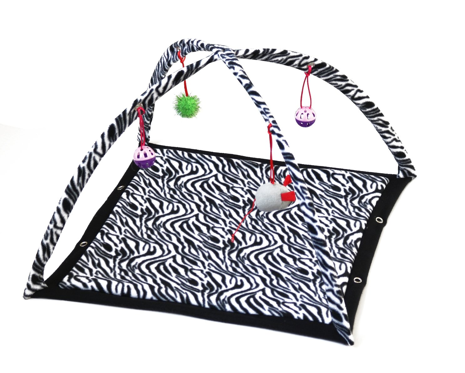 HappyCare Textiles Cat Activity Center Tent with Hanging Toy, 21  x 14 , Black White