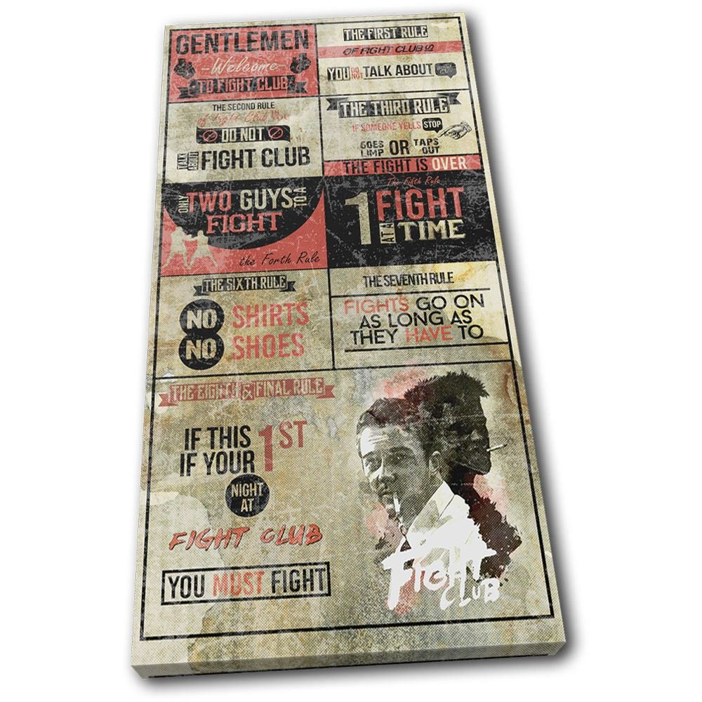 Bold Bloc Design - - - Boxing Fight Club Rules Hobbies 120x60cm - Leinwand Kunstdruck Box gerahmte Bild Wand hangen - handgefertigt In Grossbritannien - gerahmt und bereit zum Aufhangen - Canvas Art Print eb7b04