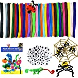 Mecando 470 Pcs Pipe Cleaners Craft Supplies 32 Colors 320 Pcs Chenille Stems 150pcs Wiggle Googly Eyes for Kids DIY Crafting