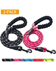 Haapaw 2 Pack 5 FT Heavy Duty Dog Leash with Comfortable Padded Handle Reflective Dog leashes for Medium Large Dogs (Black/Pink)
