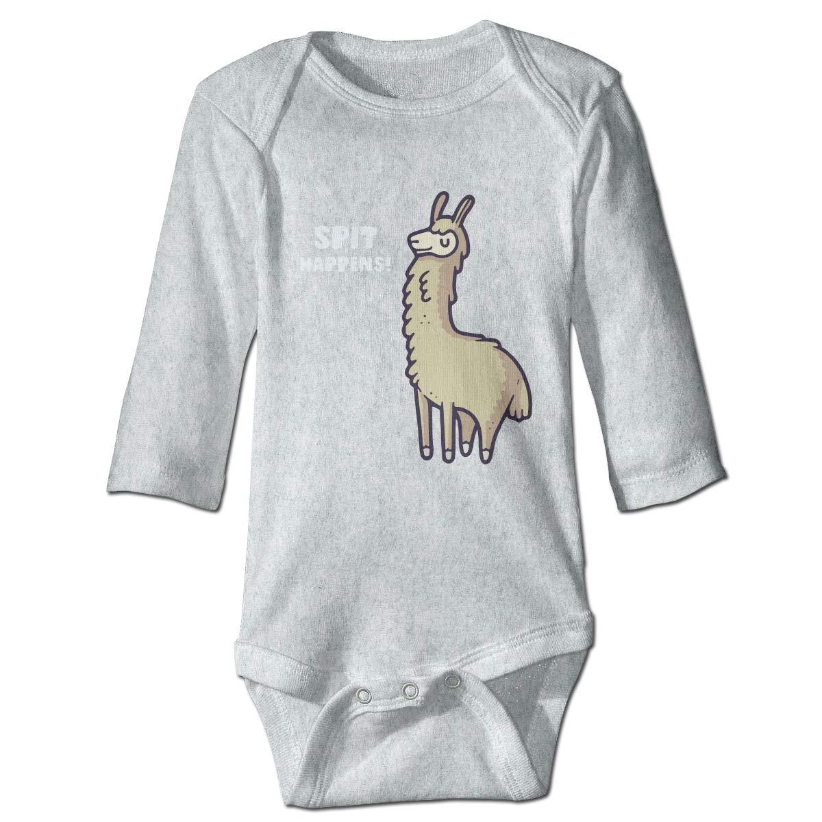 XHX Baby Spit Happens Alpaca Llama Long Sleeve Romper Onesie Bodysuit Jumpsuit