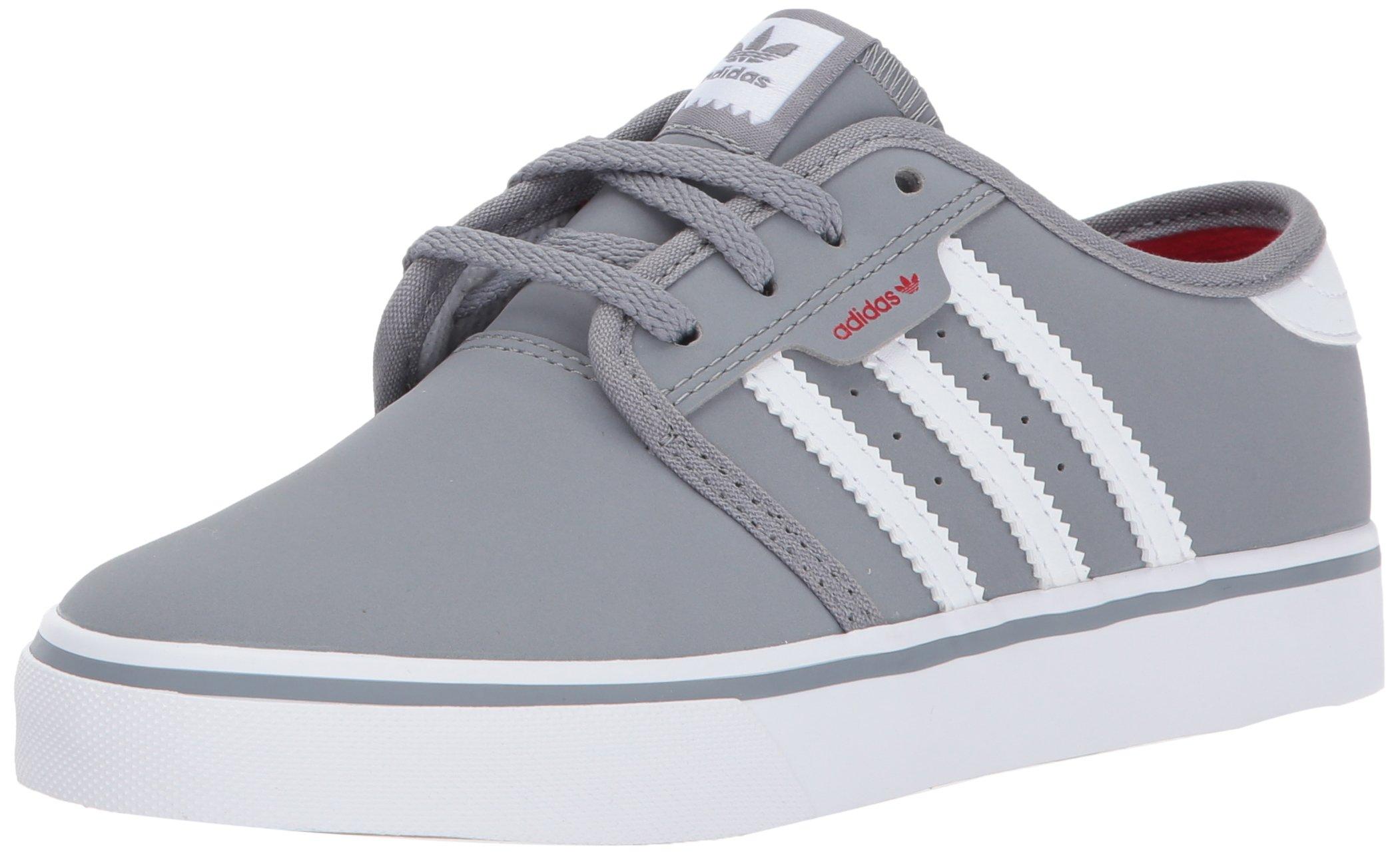 adidas Unisex-Kids Seeley J Skate Shoe, Grey, FTWR White, Scarlet, 3 M US Little Kid