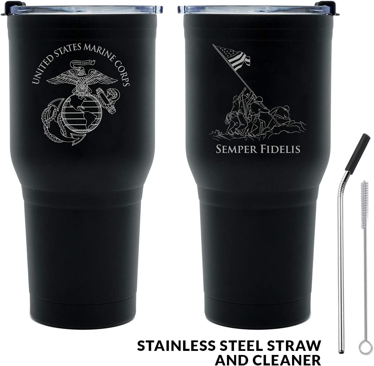 30 oz USMC Black Double Wall Vacuum Insulated Stainless Steel Marine Corps Tumbler Travel Mug-Leakproof Lid