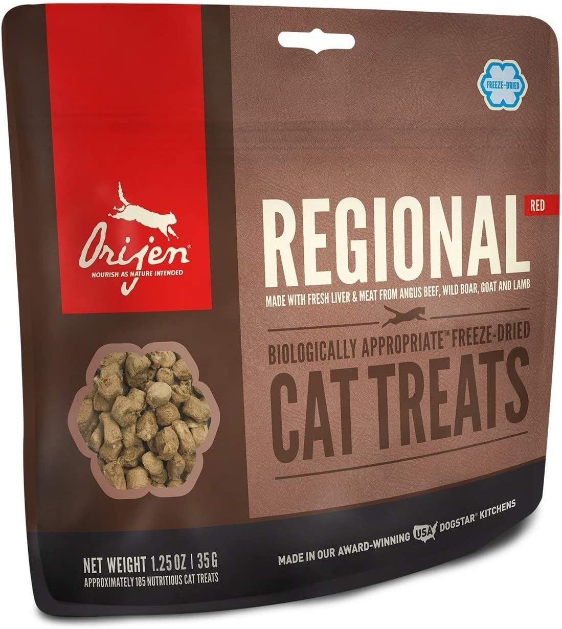 ORIJEN Freeze Dried Cat Treats, Grain Free, Natural & Raw Animal Ingredients, Regional Red, 1oz