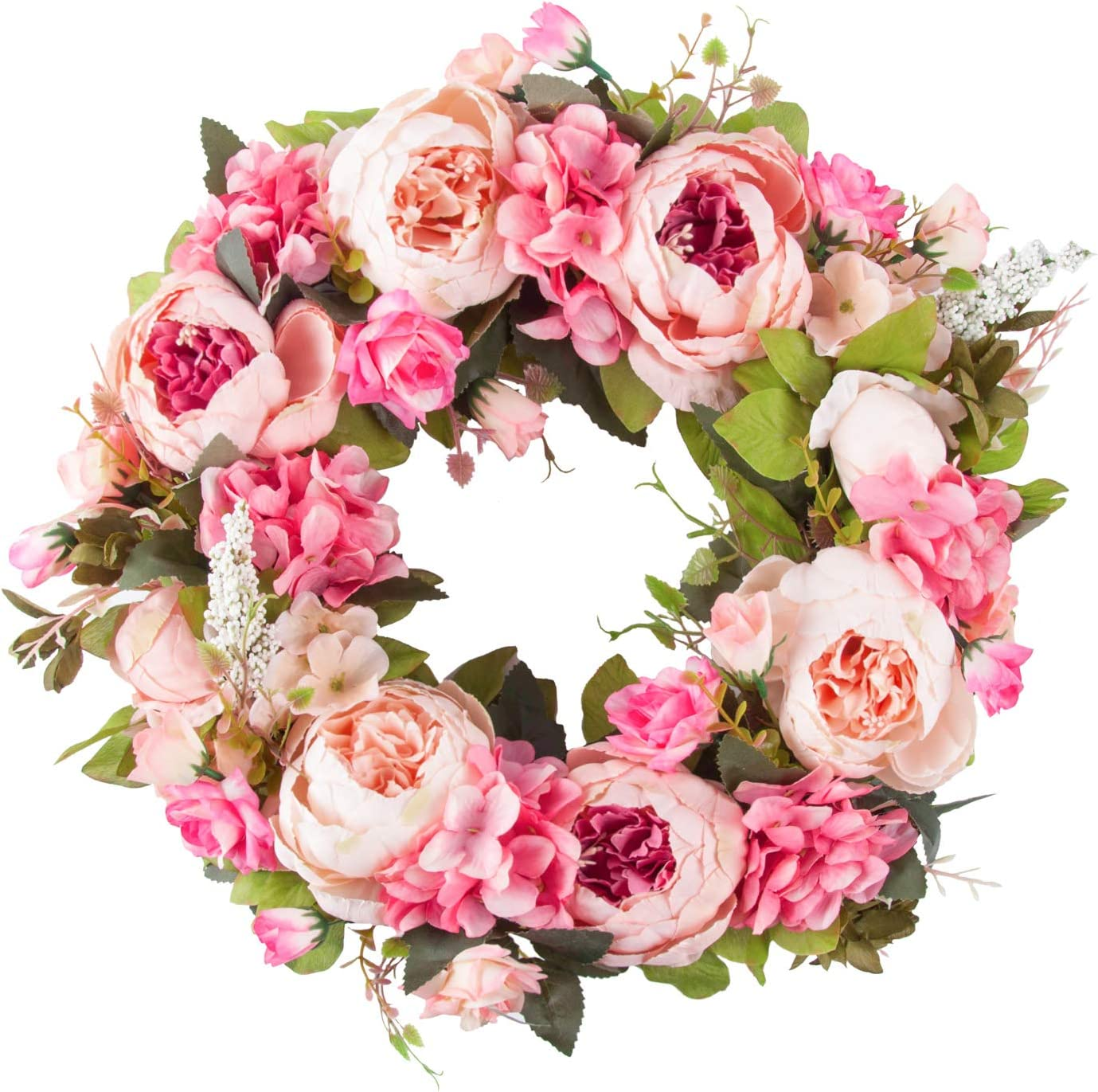 Prayer Artificial Peony Flower Wreath Door Wreath with Green Leaves Spring Wreath for Front Door,Wedding,Wall, Home Decor