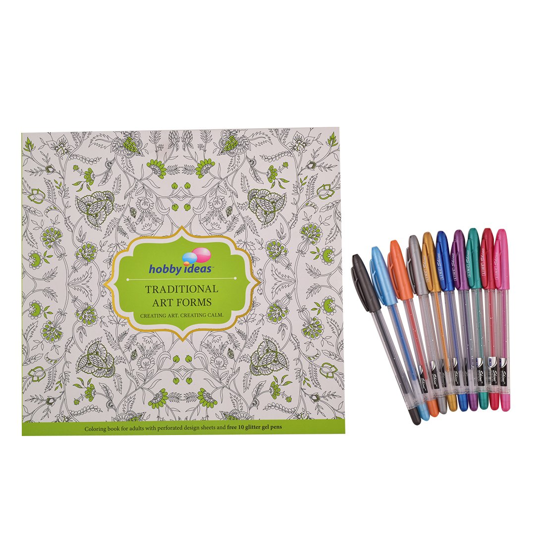 Buy Hobby Ideas Traditional Art Colouring Book For Adults With Set Of 10 Glitter Gel Pens Online At Low Prices In India