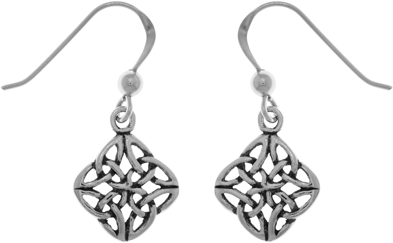 Jewelry Trends Sterling Silver Fourfold Celtic Trinity Knot Dangle Earrings TE462