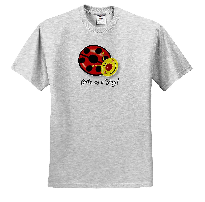 Cute Ladybug Design with Black Text T-Shirts 3dRose Russ Billington Designs Cute as a Bug