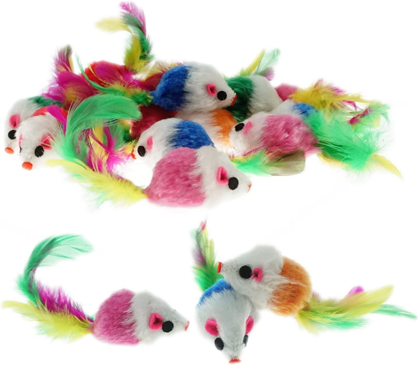 Keklle Furry Mice Toys of Feather Tails, Mouse Toys for Cats, Funny Small Pet Toys, 20 Counting
