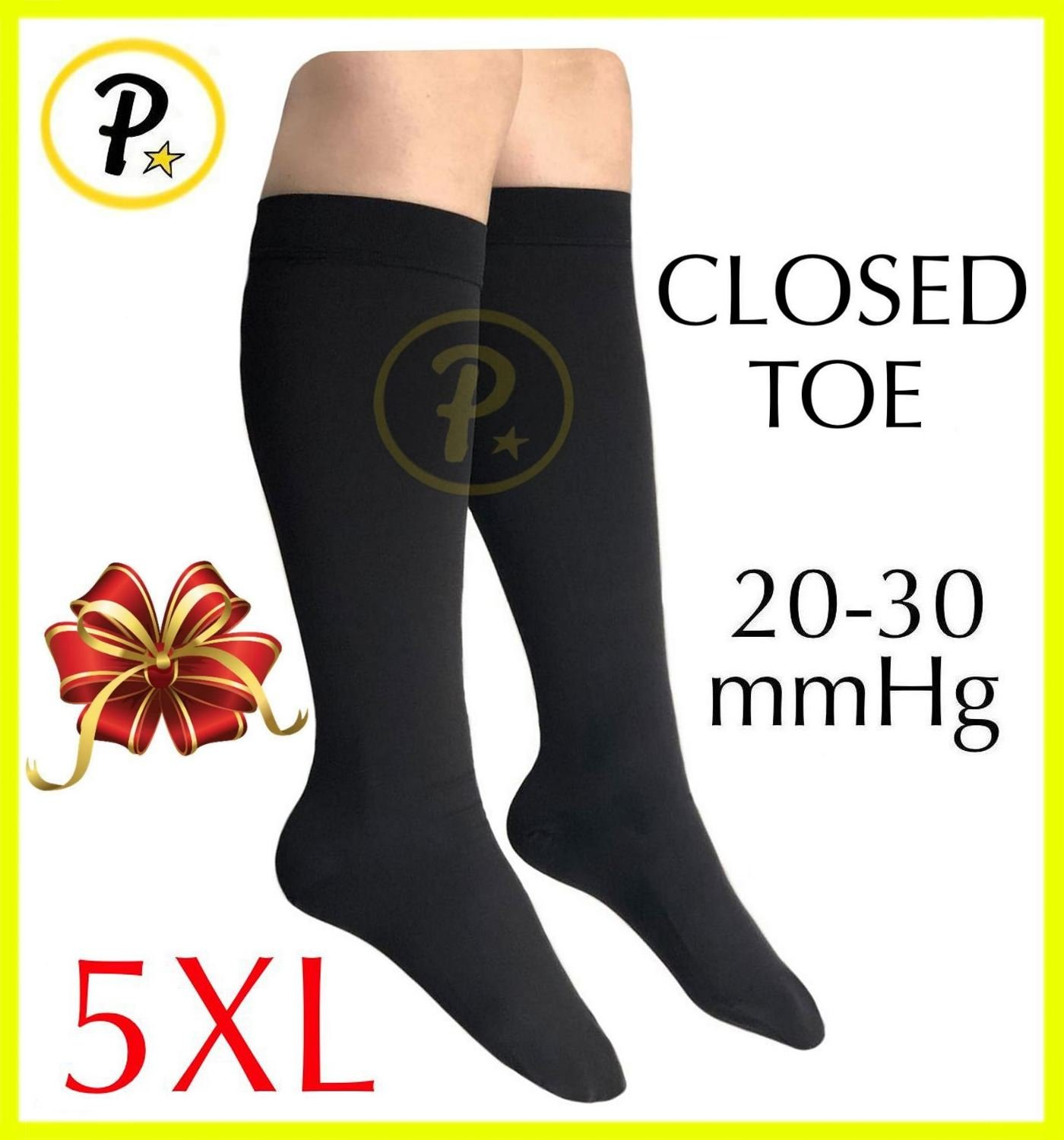 Presadee Closed Toe (BIG & TALL SUPER SIZE) Traditional 20-30 mmHg Compression Grade Swelling Veins Ankle Calf Leg Sock Support (Black, 5XL)