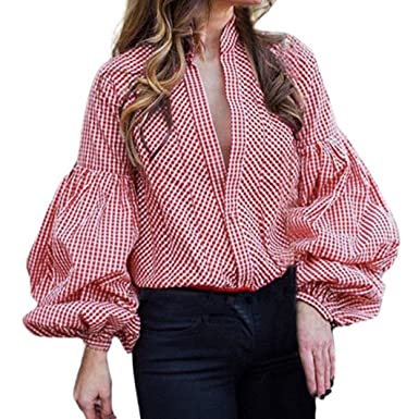 ManxiVoo Women s Ruffle Puff Sleeve Plaid Curved Hem Shirts Button Lantern  Sleeve Casual Blouse Tops ( cd349b2de