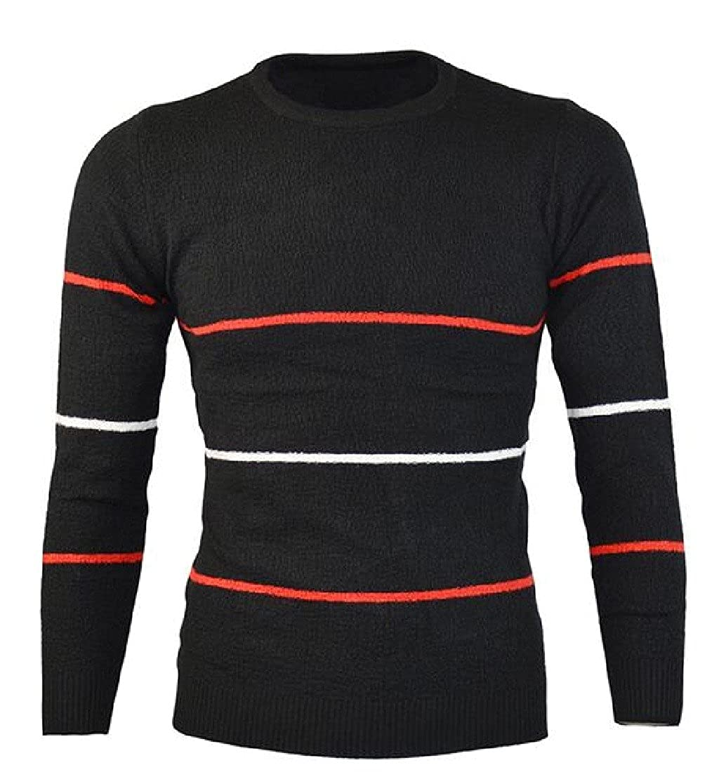 RSunshine Men Chic Long Sleeve Striped Light Weight Pullover Knitted Sweater