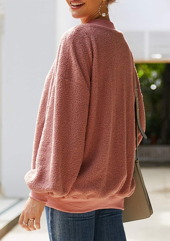 ABirdon Mujeres Sudadera Caliente y Esponjoso Tops Cuello Redondo Manga Larga Casual Remata Abrigo C/álido Primavera Oto/ño Invierno
