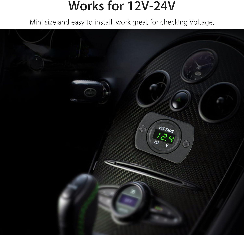 Linkstyle DC 12V 24V Car Voltmeter with LED Digital Display Panel Waterproof Voltage Gauge Meter with Terminals for Boat Marine Vehicle Motorcycle Truck ATV UTV Car with Green Light