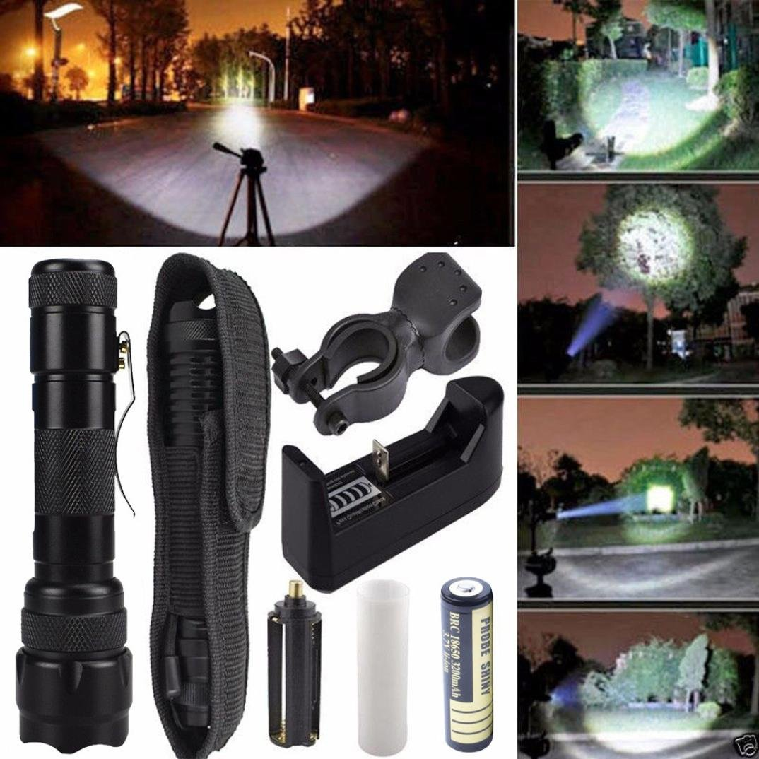 ZYooh CREE Chip XML T6 LED Tactical Flashlight,G700X800 Zoomable Amazingly Bright 3000Lumen 5-Modes Police Flashlight Torch Light Lamp+Flashlight Holster+Charger +battery