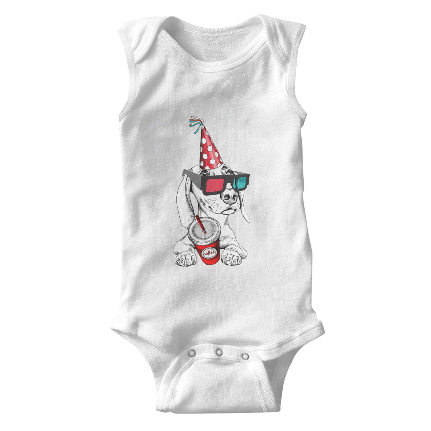 lsawdas Cute Dachshund with Glasses Party Cap Coffee Unisex Baby Cotton Sleeveless Baby Jumpsuit Baby Onesies White