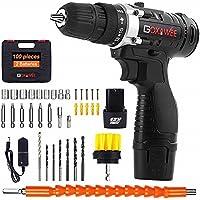 Taladro Atornillador 2 Baterías, GOXAWEE 100Pcs Kit Taladro Bateria/Destornillador Eléctrico (2…