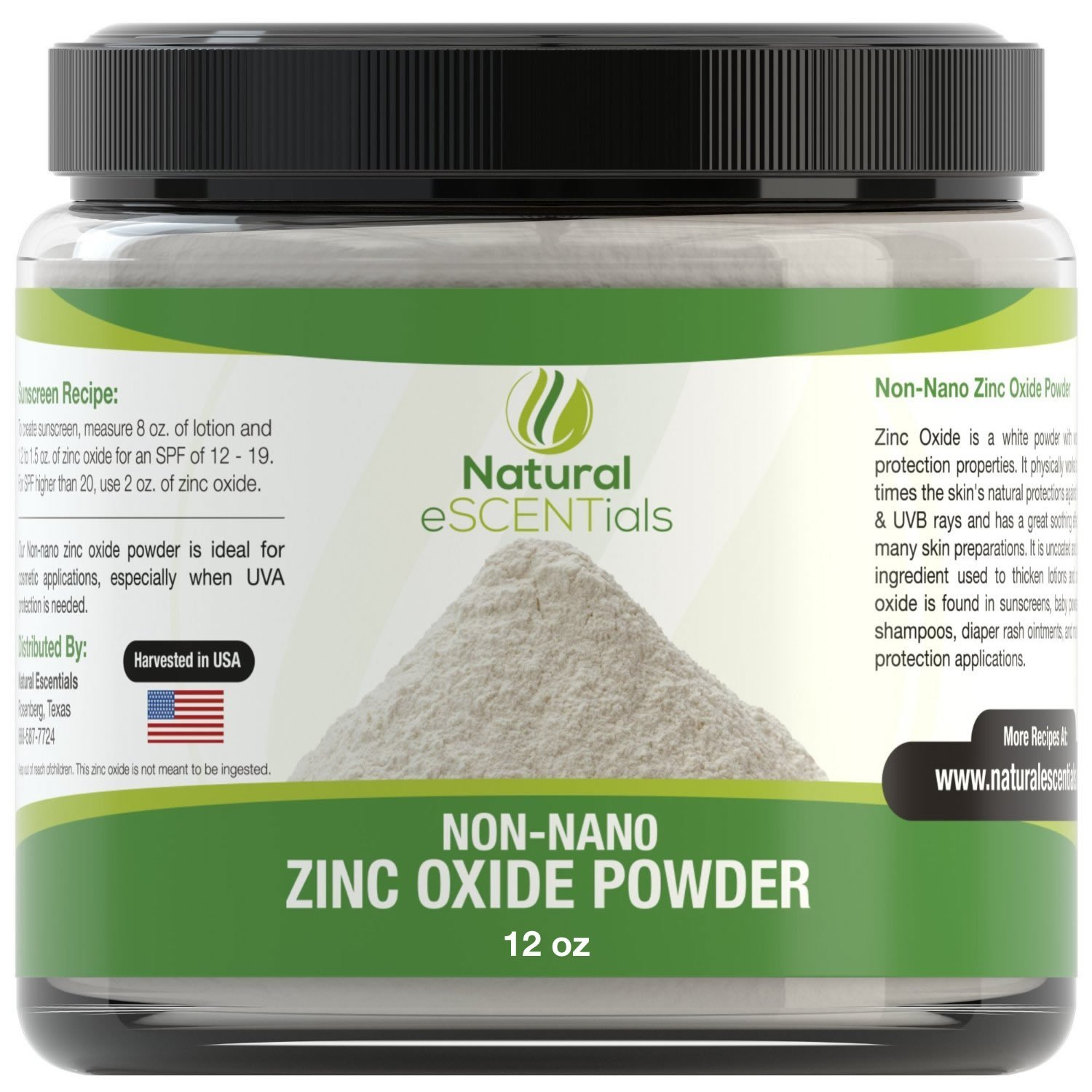 Natural Zinc Oxide Powder - Non Nano and Uncoated - Baby Safe, Cosmetic Grade Fine Powder - FREE: Recipe eBook by Natural Escentials