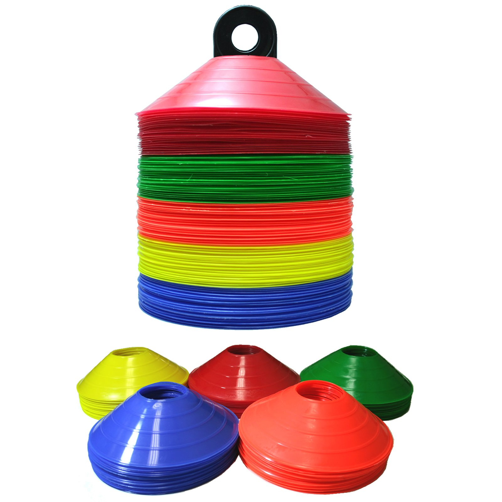100 Disc Cones Soccer Football Field Marking Coaching Cones - Assorted Colors …