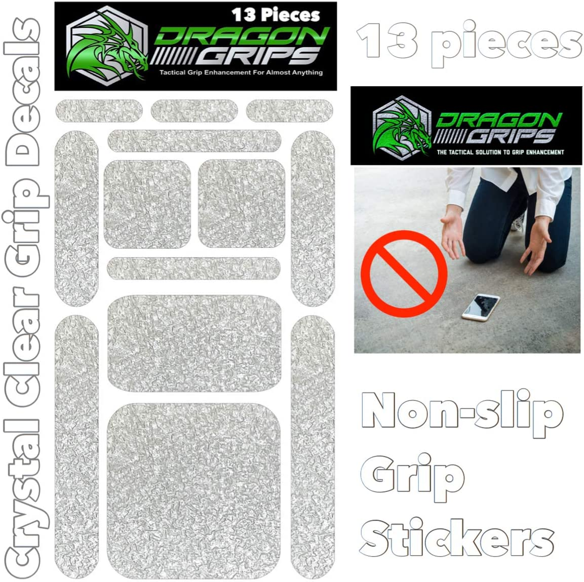 Dragon Grips 13pc Clear Grip Tape Decal Stickers for iPhone Tablet Mouse Computer Textured Silicone Rubber Traction Grip Adhesive Great for Gaming Mouse Controllers and RC Vehicle Controls (Clear)